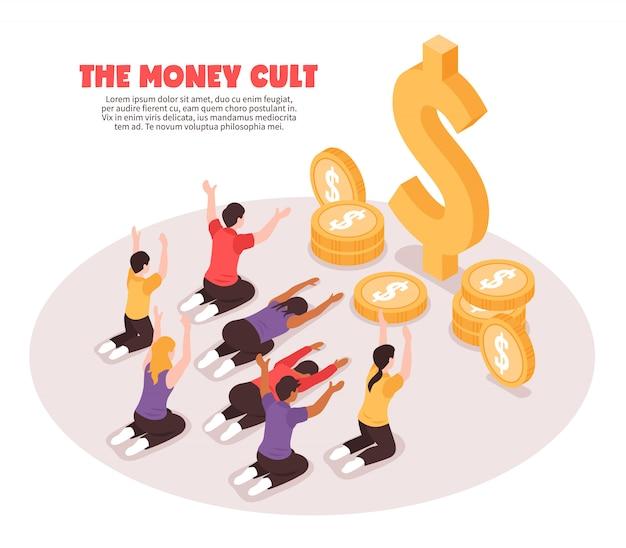 Fundo isométrico de culto ao dinheiro