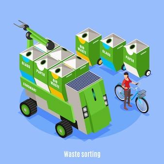 Fundo isométrico de ecologia urbana inteligente com imagens de caixas para triagem de resíduos e veículo de coleta de lixo