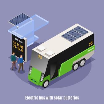 Fundo isométrico de ecologia urbana inteligente com vista do abrigo de ônibus moderno e ônibus elétrico com texto