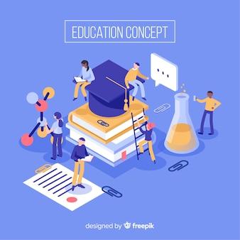 Fundo isométrico de educação
