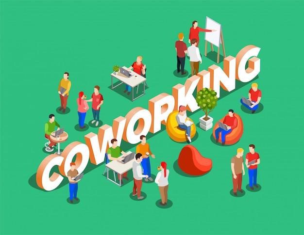 Fundo isométrico de espaço de coworking