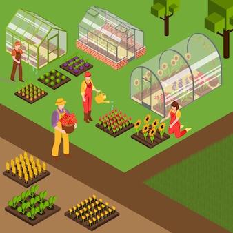 Fundo isométrico de fazenda