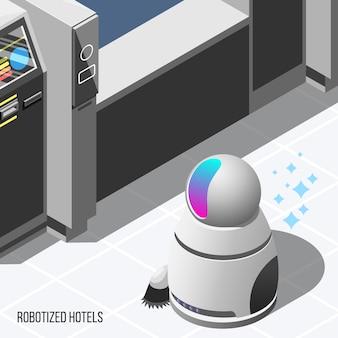 Fundo isométrico de hotéis robotizados