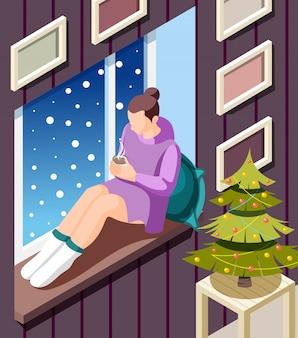 Fundo isométrico de inverno aconchegante com a jovem mulher sentada no peitoril da janela se aquecendo com chocolate quente na ilustração da árvore de natal