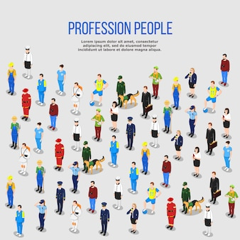 Fundo isométrico de profissões humanas