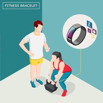 Fundo isométrico de pulseira de fitness