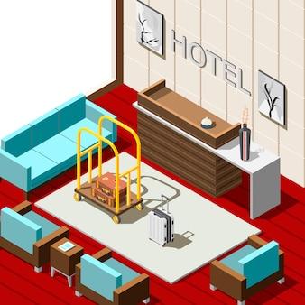 Fundo isométrico de recepção de hotel