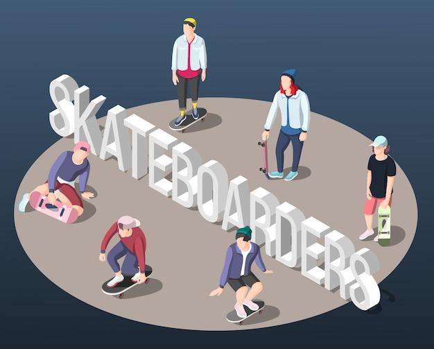 Fundo isométrico de skatistas