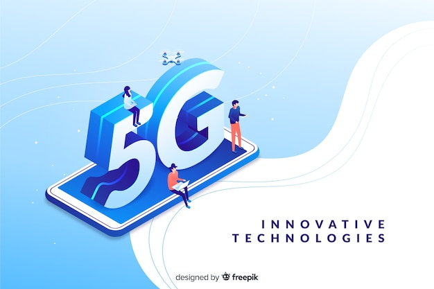 Fundo isométrico de tecnologia 5g