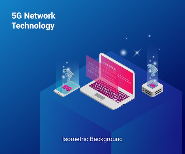 Fundo isométrico de tecnologia de rede 5g
