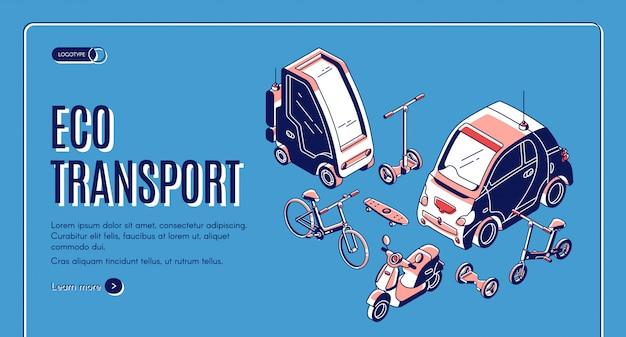Fundo isométrico de transporte ecológico