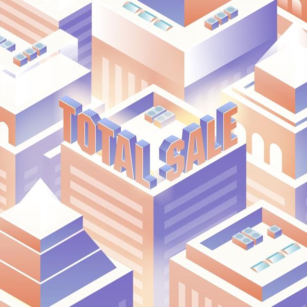 Fundo isométrico de venda total