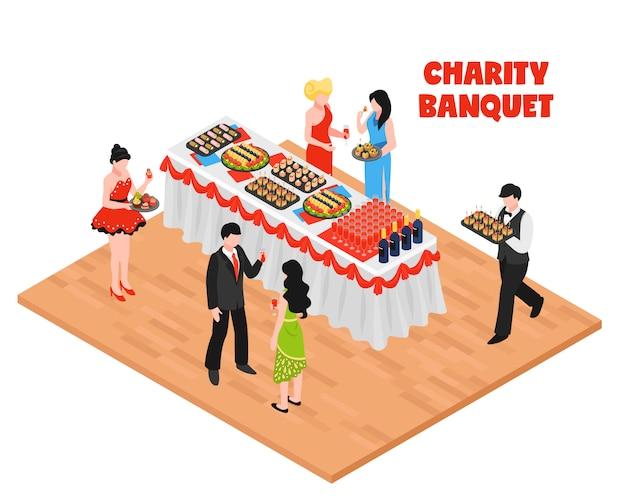 Fundo isométrico do banquete de caridade