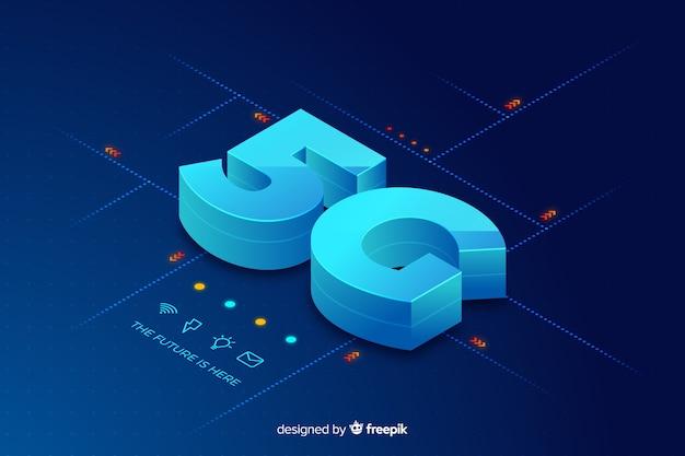 Fundo isométrico do conceito de 5g