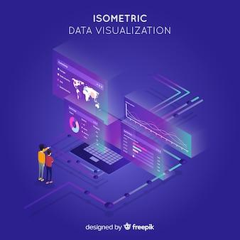 Fundo isométrico do conceito de visualização de dados