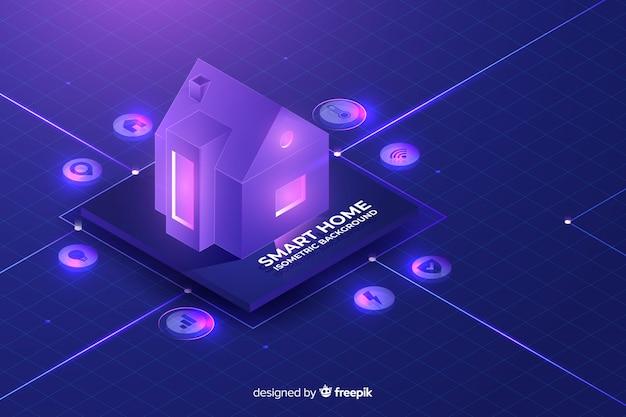 Fundo isométrico em casa inteligente de gradiente