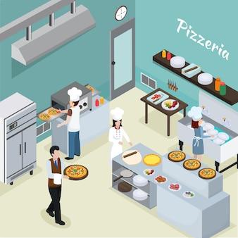 Fundo isométrico interior de cozinha profissional