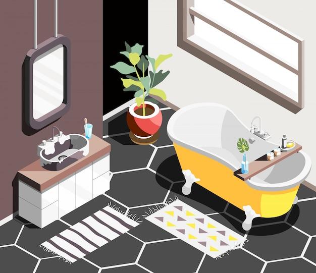 Fundo isométrico interior do sotão com ambiente de banheiro moderno com banheira de janela horizontal e pia com espelho
