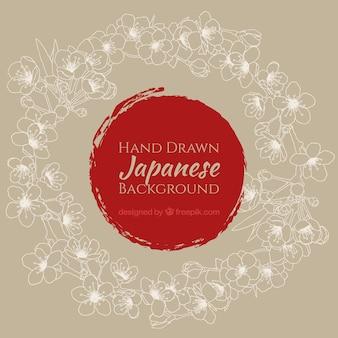 Fundo japonês com a mão tirada coroa de flores