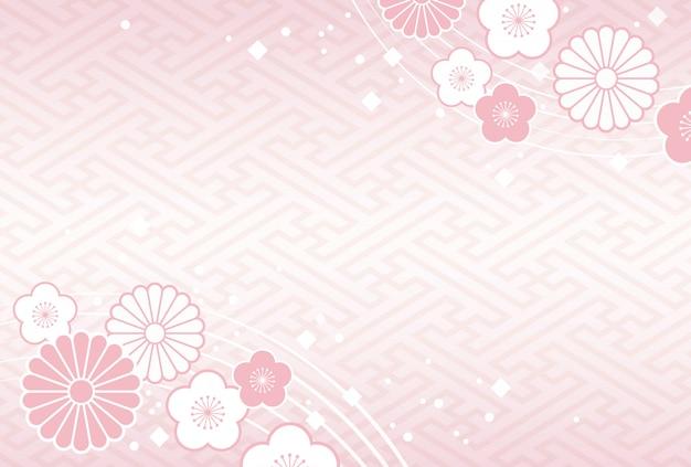 Fundo japonês com flores e plantas tradicionais de celebração