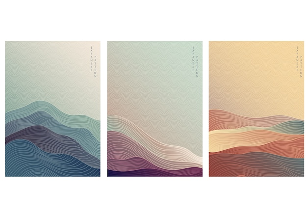 Fundo japonês com padrão de onda de linha. molde abstrato com padrão geométrico.