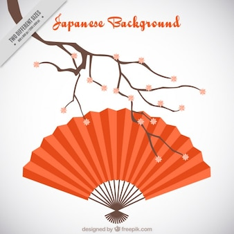 Fundo japonês com um ventilador vermelho