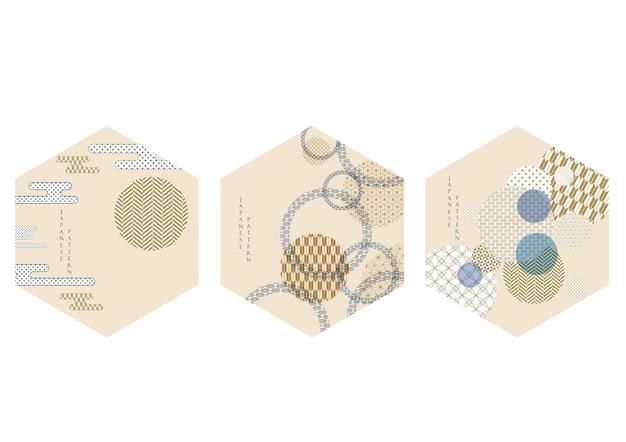 Fundo japonês com vetor de elementos geométricos. modelo abstrato com forma de círculo em estilo oriental. design de logotipo e ícone.