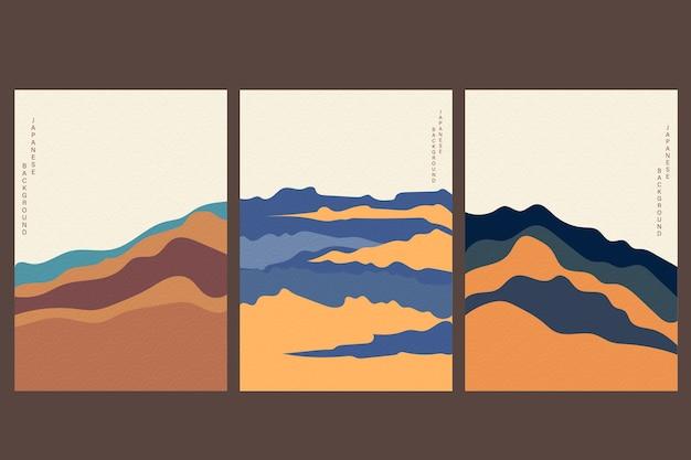 Fundo japonês com vetor de onda desenhada de mão. molde abstrato com padrão geométrico. projeto de layout de montanha em estilo oriental.