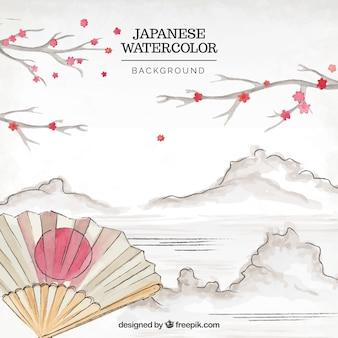 Fundo japonês da aguarela da paisagem com um ventilador decorativo