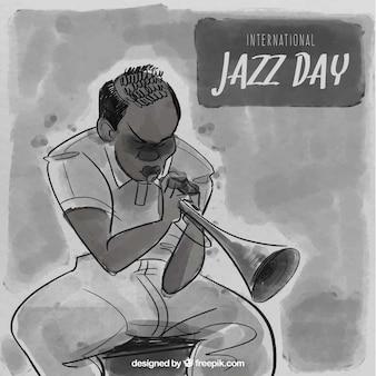Fundo jazz aguarela com trompetista