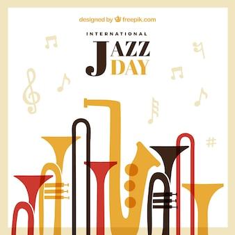 Fundo jazz do vintage com instrumentos musicais