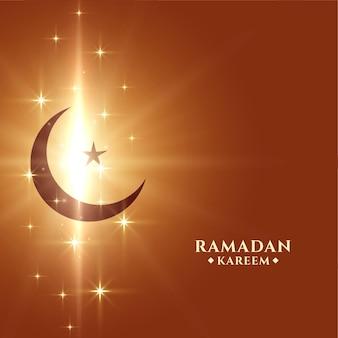 Fundo kareem do ramadã com estrela da lua e brilhos