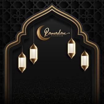 Fundo kareem do ramadã com lua dourada e lanterna