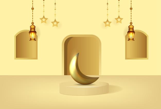 Fundo kareem do ramadã com pódio de luxo e lanternas