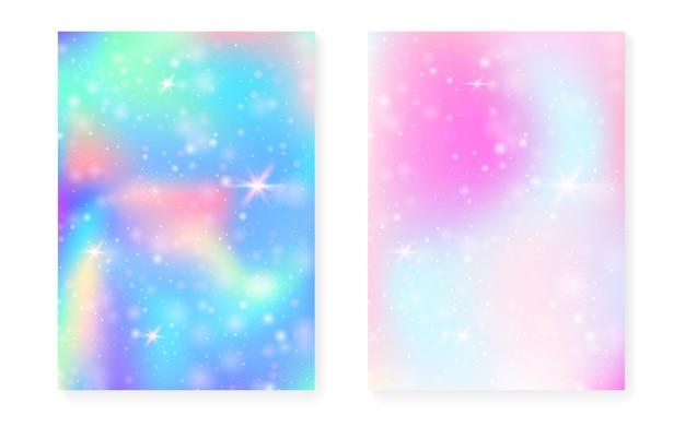 Fundo kawaii com gradiente arco-íris de princesa