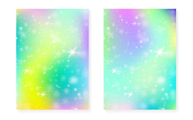 Fundo kawaii com gradiente de princesa do arco-íris. holograma de unicórnio mágico. conjunto de fadas holográficas.