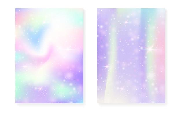 Fundo kawaii com gradiente de princesa do arco-íris.