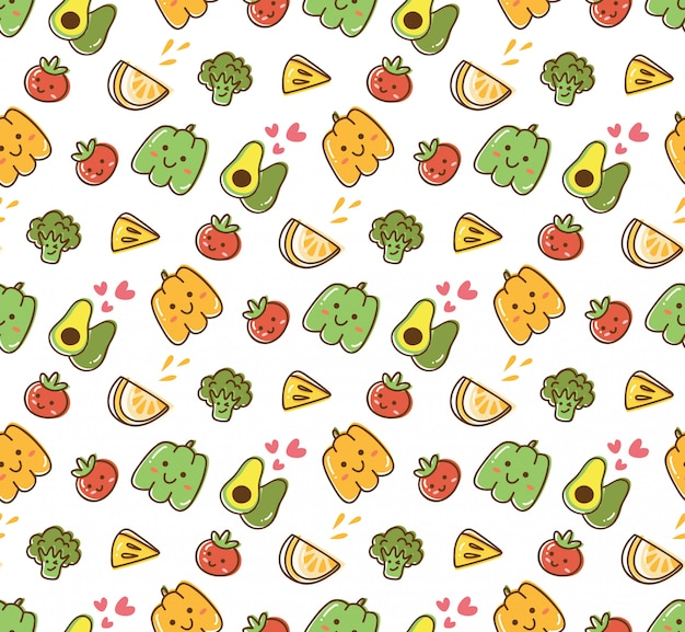 Fundo kawaii de frutas e vegetais