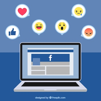 Fundo laptop com facebook e ícones