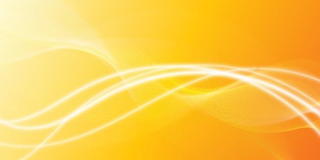Fundo laranja abstrato moderno linhas brilhantes onduladas