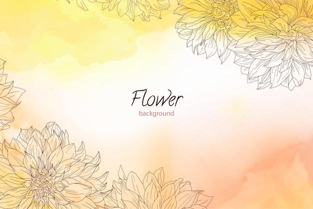Fundo laranja aquarela com flores gravadas
