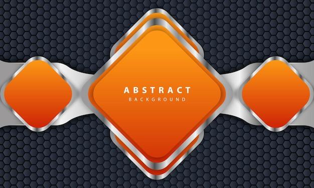 Fundo laranja com estilo 3d. fundo retangular com uma combinação de hexágono e linhas prateadas.