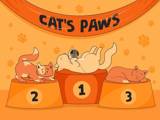 Fundo laranja com gatos engraçados nos pódios. lugares de patas de gato para gatinhos fofos.