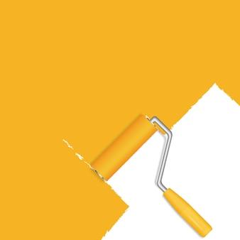 Fundo laranja com rolo de pintura