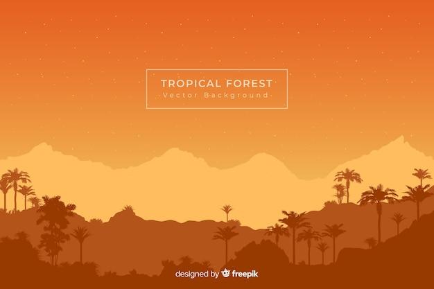 Fundo laranja com silhuetas de floresta tropical
