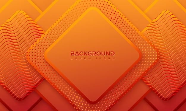 Fundo laranja de ractangle com estilo 3d.