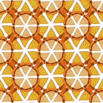 Fundo laranja. padrão brilhante sem costura. vector desenhado à mão para tecido, têxtil, embalagens e embalagens.