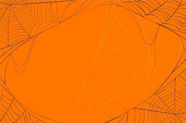Fundo laranja teia de aranha de halloween