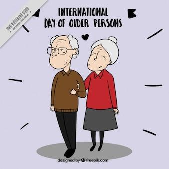 Fundo lindo casal idoso