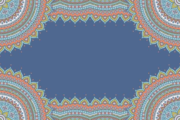 Fundo lindo decorado com moldura de mandala colorida